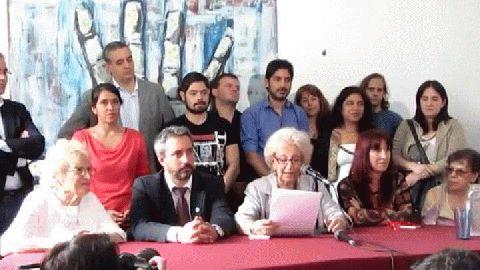 Conferencia de prensa en la que Estela de Carlotto anunció la restitución del nieto 116.