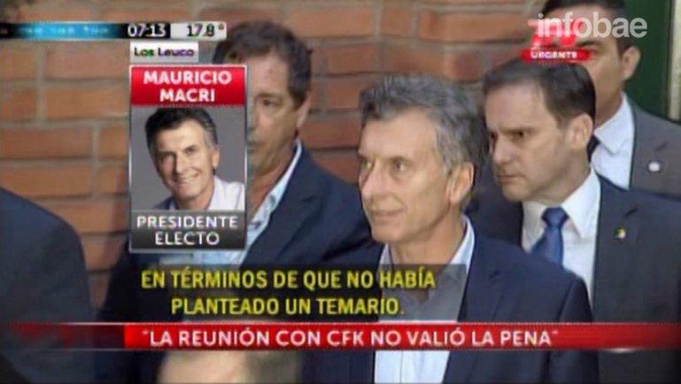 Mauricio Macri resumió su encuentro con Cristina Kirchner: No valió la pena