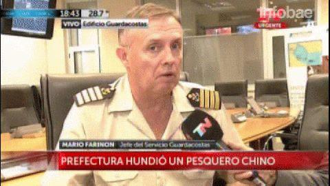 Mario Farinon, jefe del Servicio de Guardacostas, contó cómo se desarrolló el operativo contra el pesquero chino.