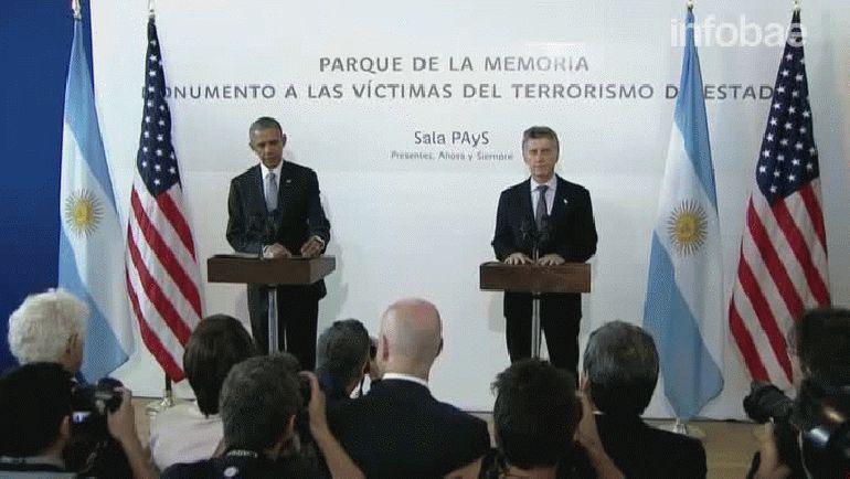 La conferencia de prensa posterior al homenaje que Obama y Macri realizaron en el Parque de la Memoria