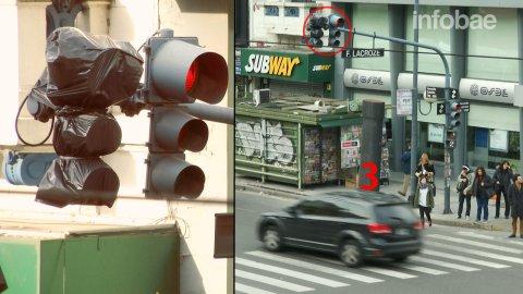 En Federico Lacroze y Cabildo, automóviles y colectivos avanzan e ignoran las señales de tránsito.
